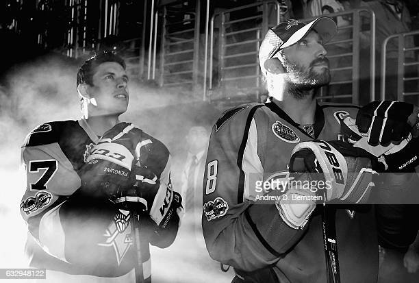 Sidney Crosby of the Pittsburgh Penguins and Alex Ovechkin of the Washington Capitals wait to take the ice for the 2017 Coors Light NHL AllStar...