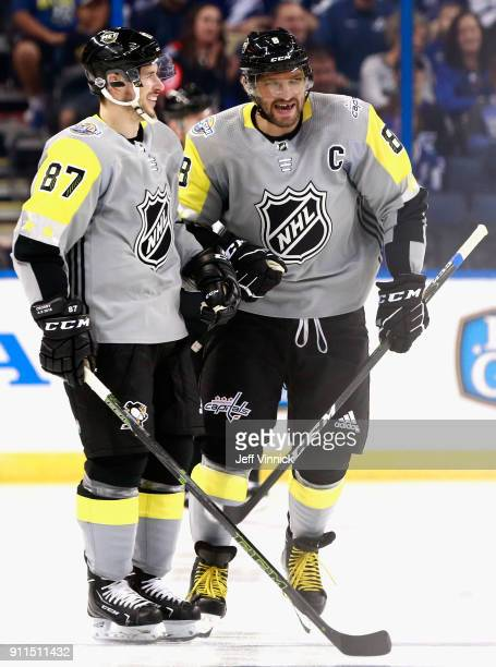 Sidney Crosby of the Pittsburgh Penguins and Alexander Ovechkin of the Washington Capitals have a laugh during the 2018 Honda NHL AllStar Game...