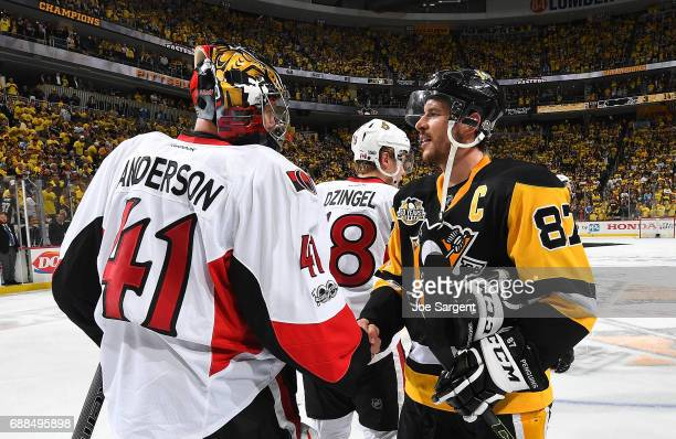 Sidney Crosby of the Pittsburgh Penguins and Craig Anderson of the Ottawa Senators shake hands in Game Seven of the Eastern Conference Final during...