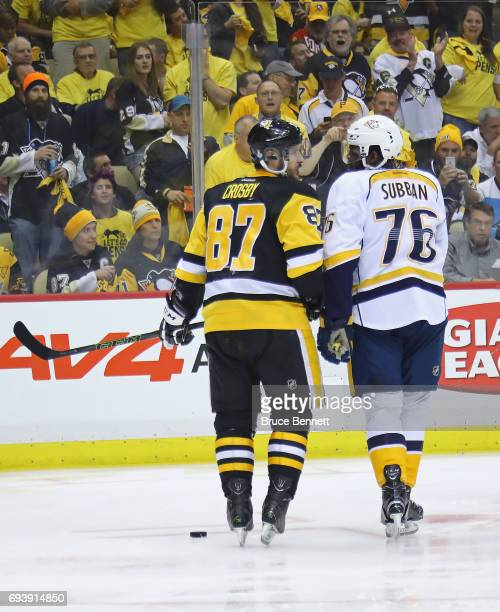 Sidney Crosby of the Pittsburgh Penguins and PK Subban of the Nashville Predators exchange words during the first period in Game Five of the 2017 NHL...