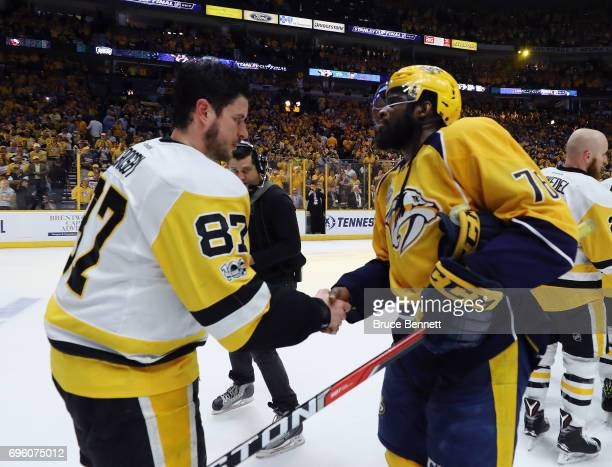 Sidney Crosby of the Pittsburgh Penguins and PK Subban of the Nashville Predators shake hands following the Penguins Stanley Cup winning victory over...