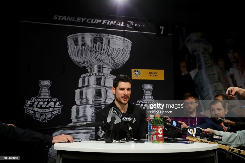 Sidney Crosby #87 of the Pittsburgh Penguins answers questions during Media Day for the 2017 NHL Stanley Cup Final at PPG PAINTS Arena on May 28, 2017 in Pittsburgh, Pennsylvania.