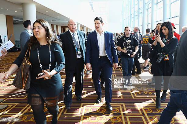 Sidney Crosby of the Pittsburgh Penguins arrives at 2017 NHL AllStar Media Day as part of the 2017 NHL AllStar Weekend at the JW Marriott on January...