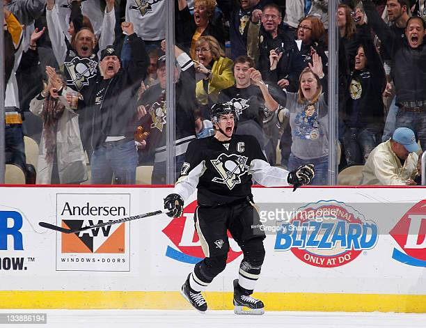 Sidney Crosby of the Pittsburgh Penguins celebrates a first period goal against the New York Islanders on November 21 2011 at Consol Energy Center in...