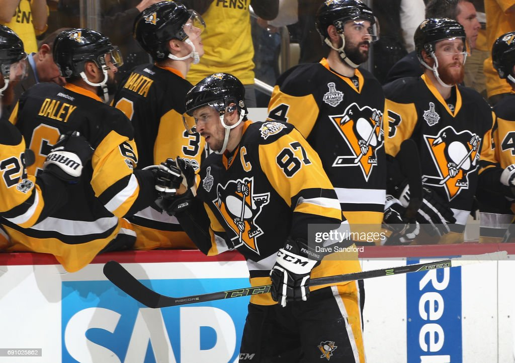 Sidney Crosby #87 of the Pittsburgh Penguins celebrates a goal by teammate Jake Guentzel #59 (not pictured) during the third period of Game Two of the 2017 NHL Stanley Cup Final at PPG Paints Arena on May 31, 2017 in Pittsburgh, Pennslyvannia.