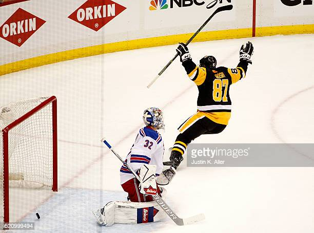 Sidney Crosby of the Pittsburgh Penguins celebrates after scoring in the second period against Antti Raanta of the New York Rangers in Game One of...