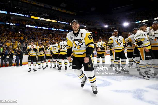 Sidney Crosby of the Pittsburgh Penguins celebrates after they defeated the Nashville Predators 20 to win the 2017 NHL Stanley Cup Final at the...