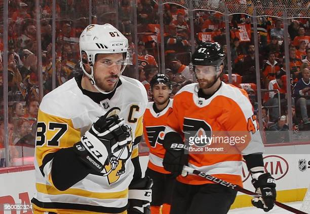 Sidney Crosby of the Pittsburgh Penguins celebrates his goal at 630 of the first period against the Philadelphia Flyers in Game Six of the Eastern...