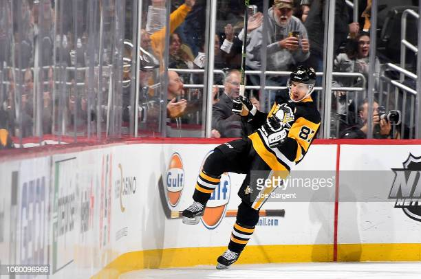 Sidney Crosby of the Pittsburgh Penguins celebrates his second period goal against the Arizona Coyotes at PPG Paints Arena on November 10 2018 in...