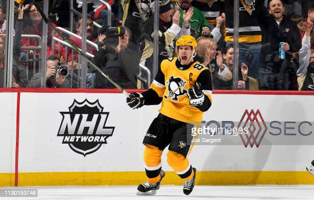 Sidney Crosby of the Pittsburgh Penguins celebrates his second period goal against the Washington Capitals at PPG Paints Arena on March 12 2019 in...