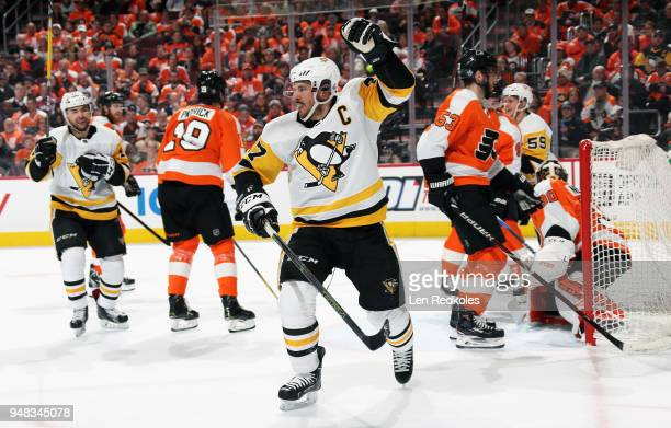 Sidney Crosby of the Pittsburgh Penguins celebrates his second period goal against the Philadelphia Flyers in Game Four of the Eastern Conference...