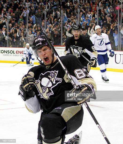 Sidney Crosby of the Pittsburgh Penguins celebrates his third period goal against the Tampa Bay Lightning during the game at Consol Energy Center on...
