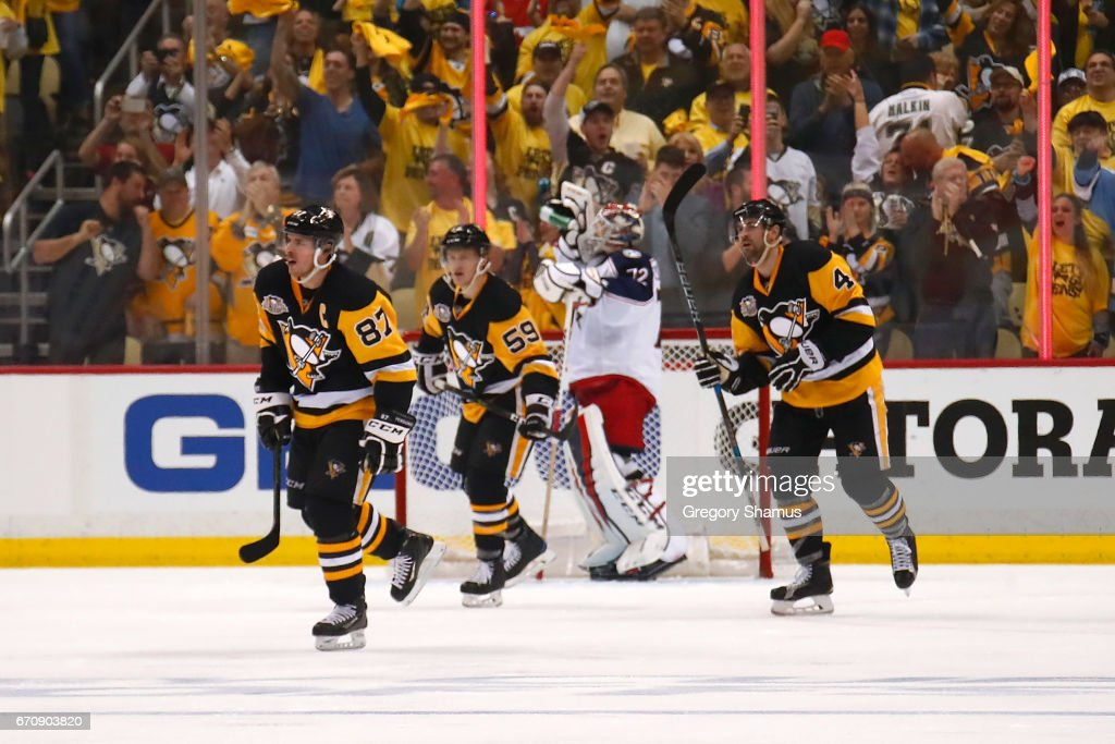 Sidney Crosby #87 of the Pittsburgh Penguins celebrates his third period goal in front Sergei Bobrovsky #72 of the Columbus Blue Jackets in Game Five of the Eastern Conference First Round during the 2017 NHL Stanley Cup Playoffs at PPG Paints Arena on April 20, 2017 in Pittsburgh, Pennsylvania. Pittsburgh won the game 5-2 to win the series.