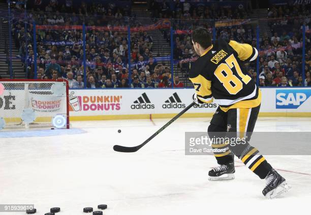 Sidney Crosby of the Pittsburgh Penguins competes in the Honda NHL Accuracy Shooting during 2018 GEICO NHL AllStar Skills Competition at Amalie Arena...