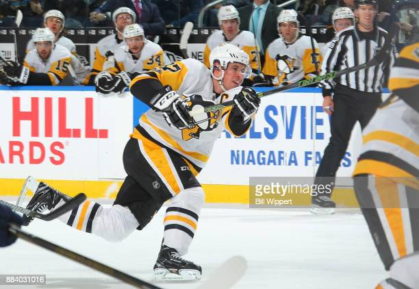 Sidney Crosby of the Pittsburgh Penguins fires the puck during the second period of an NHL game against the Buffalo Sabres on December 1 2017 at...