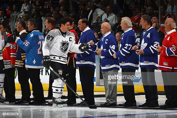 Sidney Crosby of the Pittsburgh Penguins greets members of the NHL 100 prior to the 2017 Honda NHL AllStar Game at Staples Center on January 29 2017...