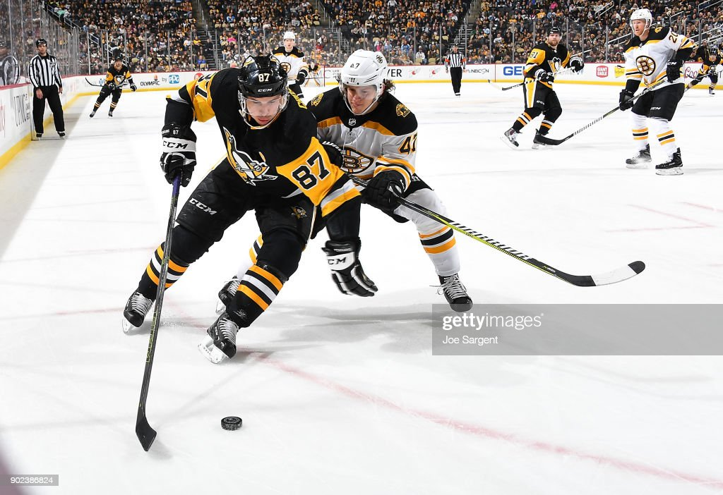 Sidney Crosby #87 of the Pittsburgh Penguins handles the puck against Torey Krug #47 of the Boston Bruins at PPG Paints Arena on January 7, 2018 in Pittsburgh, Pennsylvania.