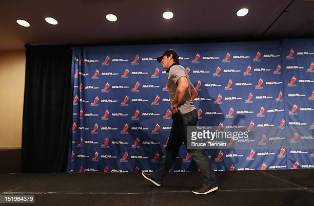 Sidney Crosby of the Pittsburgh Penguins leaves the podium after meeting with the media following the NHLPA meeting at Marriott Marquis Times Square...