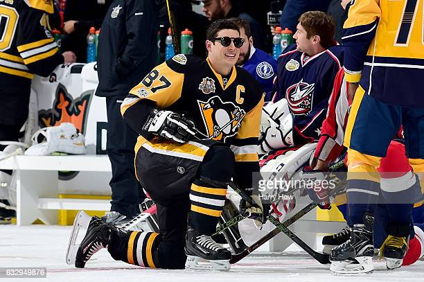 Sidney Crosby of the Pittsburgh Penguins looks on in the Honda NHL Four Line Challenge during the 2017 Coors Light NHL AllStar Skills Competition as...