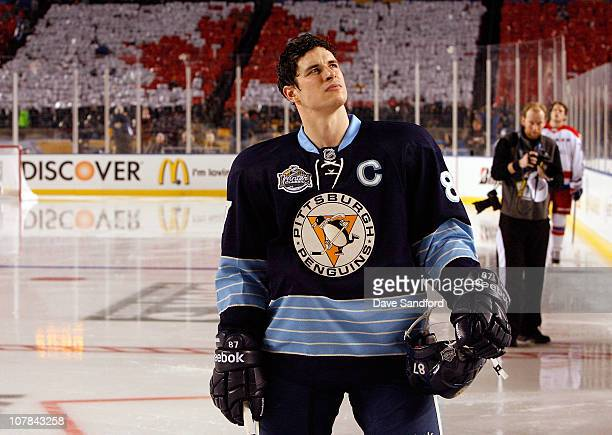 Sidney Crosby of the Pittsburgh Penguins looks on prior to his game against the Washington Capitals during the 2011 NHL Bridgestone Winter Classic at...