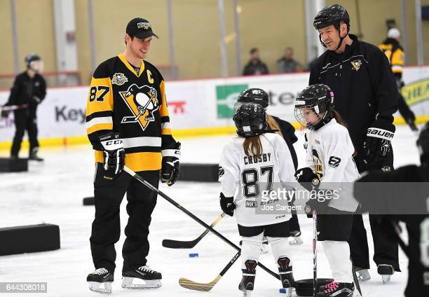 Sidney Crosby of the Pittsburgh Penguins participates in drills alongside youth hockey players during the Sidney Crosby Learn To Play Clinic at UPMC...