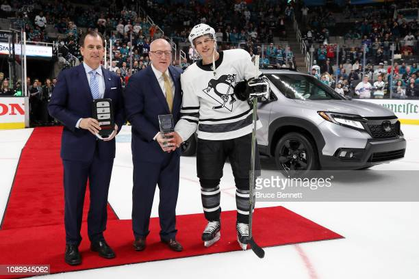 Sidney Crosby of the Pittsburgh Penguins poses after winning the MVP award during the 2019 Honda NHL All-Star Game at SAP Center on January 26, 2019...