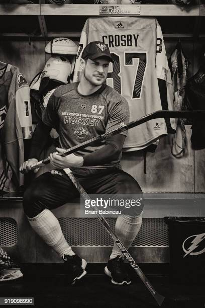 TAMPA FL JANUARY 28 Sidney Crosby of the Pittsburgh Penguins prepares in the locker room before the 2018 Honda NHL AllStar Game at Amalie Arena on...