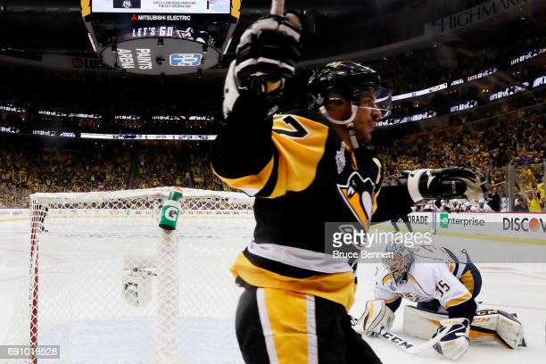 Sidney Crosby of the Pittsburgh Penguins reacts after a goal by Jake Guentzel during the third period in Game Two of the 2017 NHL Stanley Cup Final...