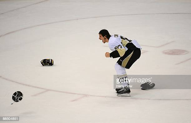 Sidney Crosby of the Pittsburgh Penguins reacts after Game Seven of the 2009 NHL Stanley Cup Finals against the Detroit Red Wings at Joe Louis Arena...