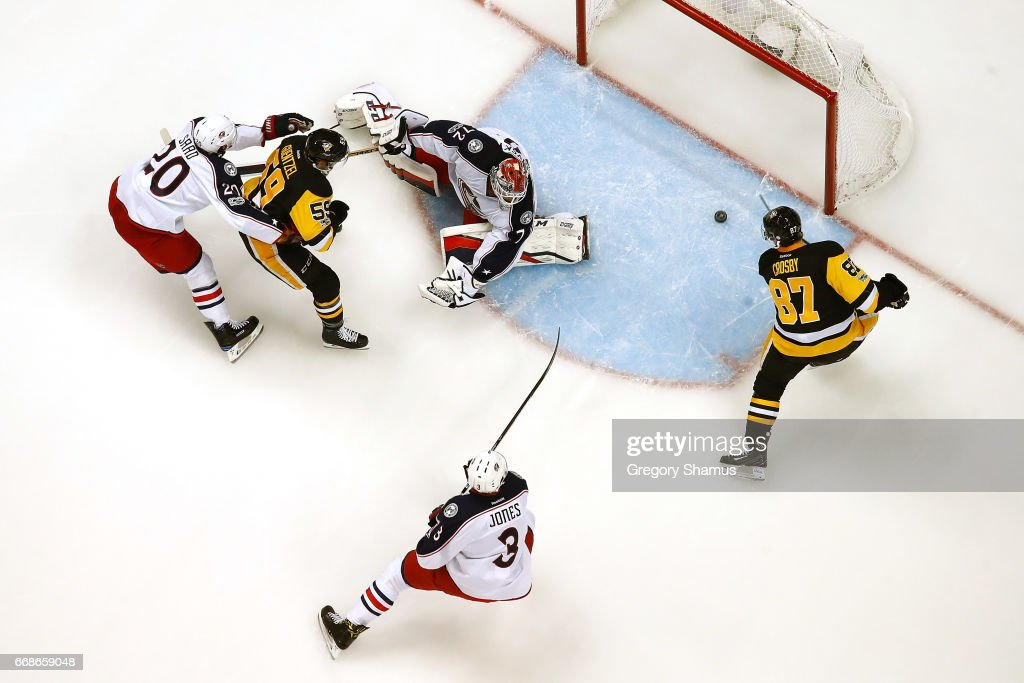 Sidney Crosby #87 of the Pittsburgh Penguins scores a first period goal past Sergei Bobrovsky #72 of the Columbus Blue Jackets in Game Two of the Eastern Conference First Round during the 2017 NHL Stanley Cup Playoffs at PPG Paints Arena on April 14, 2017 in Pittsburgh, Pennsylvania. Pittsburgh won the game 4-1 to take a 2-0 series lead.