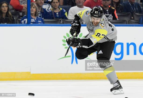 Sidney Crosby of the Pittsburgh Penguins shoots the puck during the 2018 Honda NHL AllStar Game between the Atlantic Division and the Metropolitan...