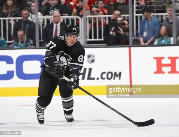 Sidney Crosby of the Pittsburgh Penguins skates against the Atlantic Division AllStars during the 2019 Honda NHL AllStar Game at SAP Center on...