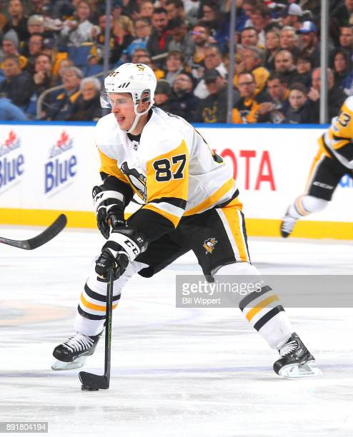 Sidney Crosby of the Pittsburgh Penguins skates against the Buffalo Sabres during an NHL game on December 1 2017 at KeyBank Center in Buffalo New York