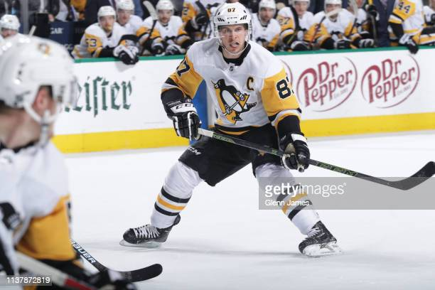Sidney Crosby of the Pittsburgh Penguins skates against the Dallas Stars at the American Airlines Center on March 23 2019 in Dallas Texas