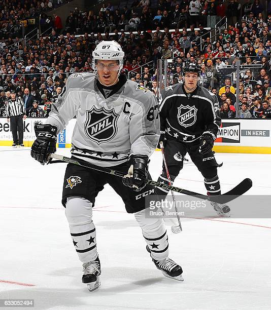 Sidney Crosby of the Pittsburgh Penguins skates against the Pacific Division AllStars during the 2017 Honda NHL AllStar Tournament Final between the...