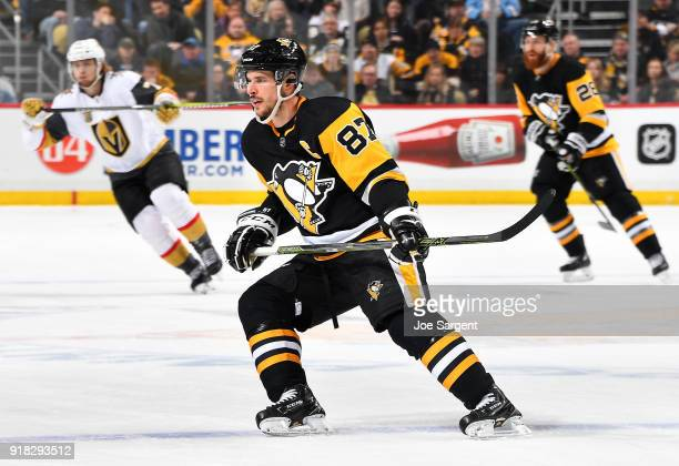 Sidney Crosby of the Pittsburgh Penguins skates against the Vegas Golden Knights at PPG Paints Arena on February 6 2018 in Pittsburgh Pennsylvania