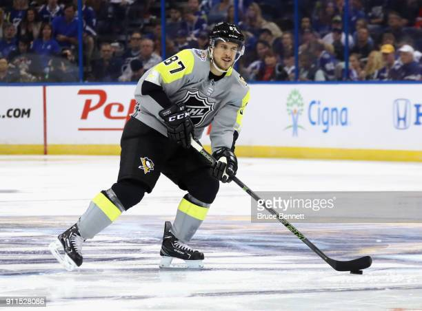 Sidney Crosby of the Pittsburgh Penguins skates during the 2018 Honda NHL AllStar Game between the Atlantic Division and the Metropolitan Divison at...