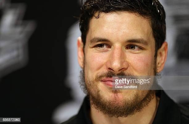 Sidney Crosby of the Pittsburgh Penguins speaks during Media Day prior to the 2016 NHL Stanley Cup Final between the Pittsburgh Penguins and San Jose...