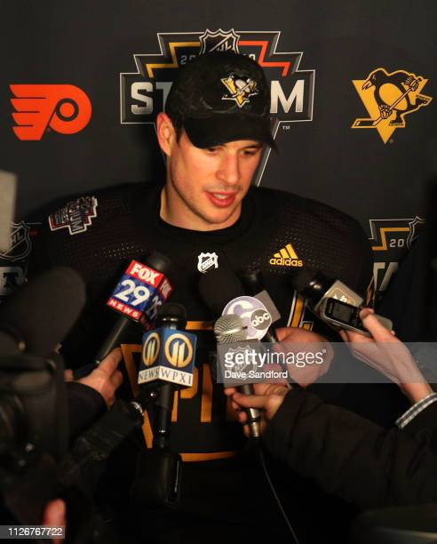 Sidney Crosby of the Pittsburgh Penguins speaks to the media during a team practice session at Lincoln Financial Field on February 22 2019 in...