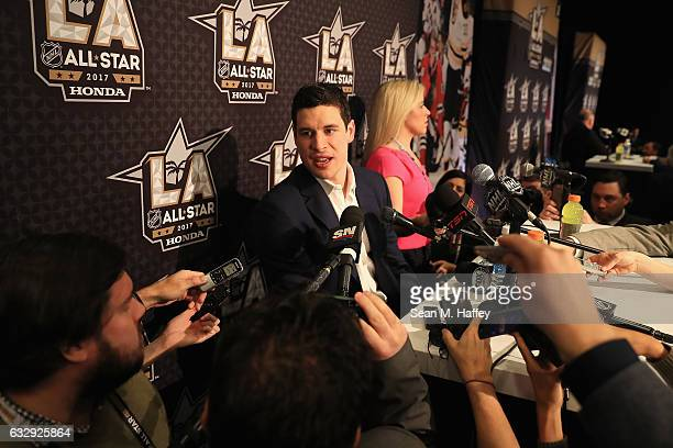 Sidney Crosby of the Pittsburgh Penguins speaks with the media during 2017 NHL AllStar Media Day as part of the 2017 NHL AllStar Weekend at the JW...