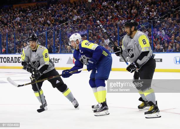R} Sidney Crosby of the Pittsburgh Penguins Steven Stamkos of the Tampa Bay Lightning and Alexander Ovechkin of the Washington Capitals look for a...