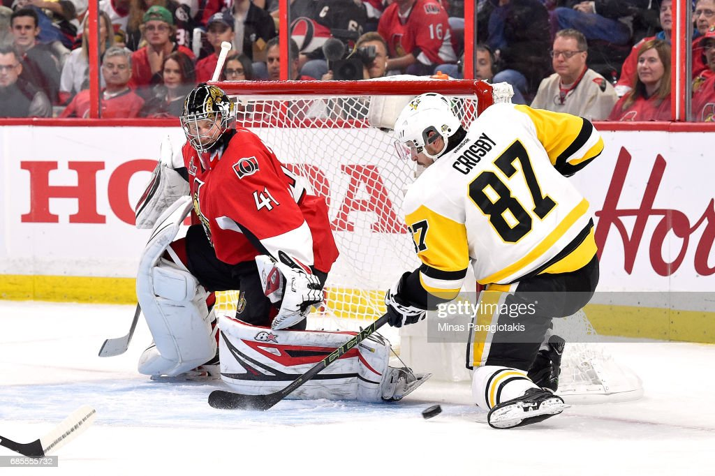 Sidney Crosby #87 of the Pittsburgh Penguins takes a shot on Craig Anderson #41 of the Ottawa Senators during the second period in Game Four of the Eastern Conference Final during the 2017 NHL Stanley Cup Playoffs at Canadian Tire Centre on May 19, 2017 in Ottawa, Canada.