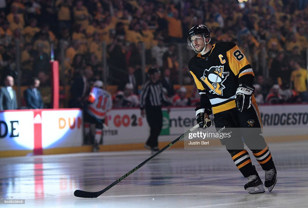 Sidney Crosby #87 of the Pittsburgh Penguins takes the ice before the first period in Game One of the Eastern Conference First Round during the 2018 NHL Stanley Cup Playoffs against the Philadelphia Flyers at PPG PAINTS Arena on April 11, 2018 in Pittsburgh, Pennsylvania.