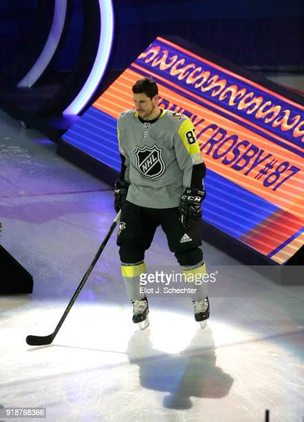 Sidney Crosby of the Pittsburgh Penguins takes the ice during player introductions at the 2018 Honda NHL AllStar Game at Amalie Arena on January 28...