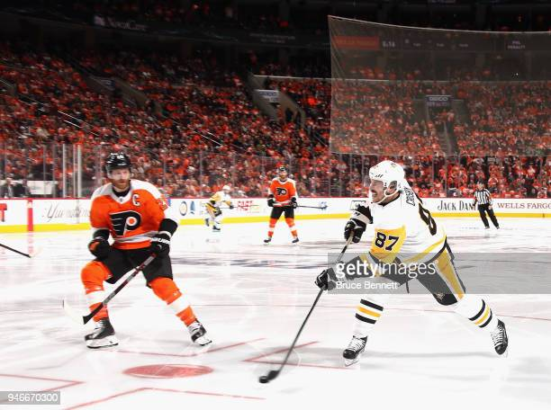 Sidney Crosby of the Pittsburgh Penguins takes the third period shot against the Philadelphia Flyers in Game Three of the Eastern Conference First...