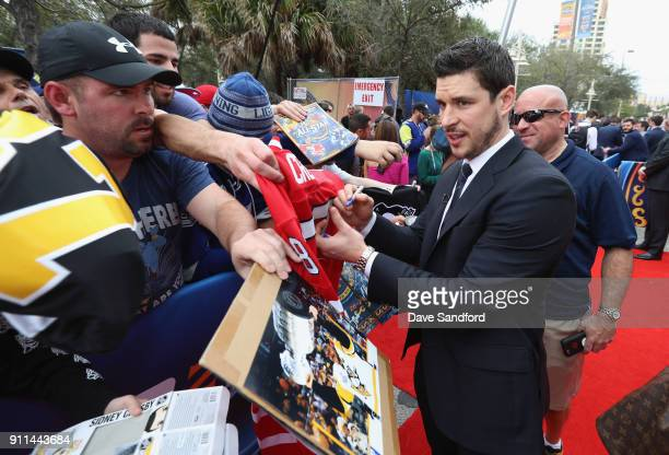 Sidney Crosby of the Pittsburgh Penguins walks the red carpet prior to playing in the 2018 Honda NHL AllStar Game at Amalie Arena on January 28 2018...