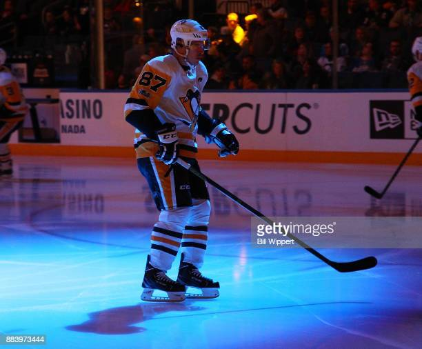 Sidney Crosby of the Pittsburgh Penguins warms up before an NHL game against the Buffalo Sabres on December 1 2017 at KeyBank Center in Buffalo New...