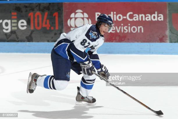 Sidney Crosby of the Rimouski Oceanic skates on the ice during the game against Gatineau Olympiques at the Robert Guertin Arena in Gatineau, Quebec,...