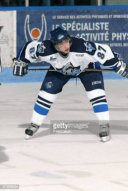 Sidney Crosby of the Rimouski Oceanic waits to take the face off against Gatineau Olympiques at the Robert Guertin Arena in Gatineau, Quebec, Canada...