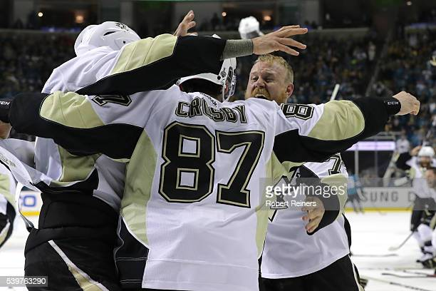 Sidney Crosby Patric Hornqvist and the Pittsburgh Penguins celebrate after their 31 victory to win the Stanley Cup against the San Jose Sharks in...